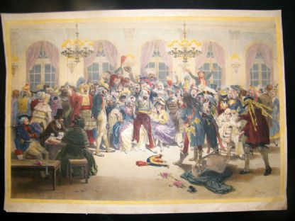 Adolphe Bayot C1850 LG Folio H/Col Lithograph of a Masquerade Ball (bal masque) | Albion Prints